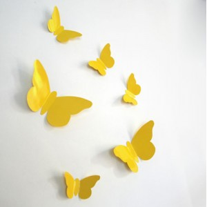 Sticker papillon relief jaune
