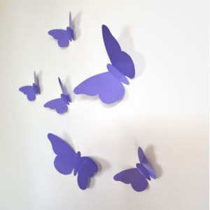 Sticker papillon relief mauve