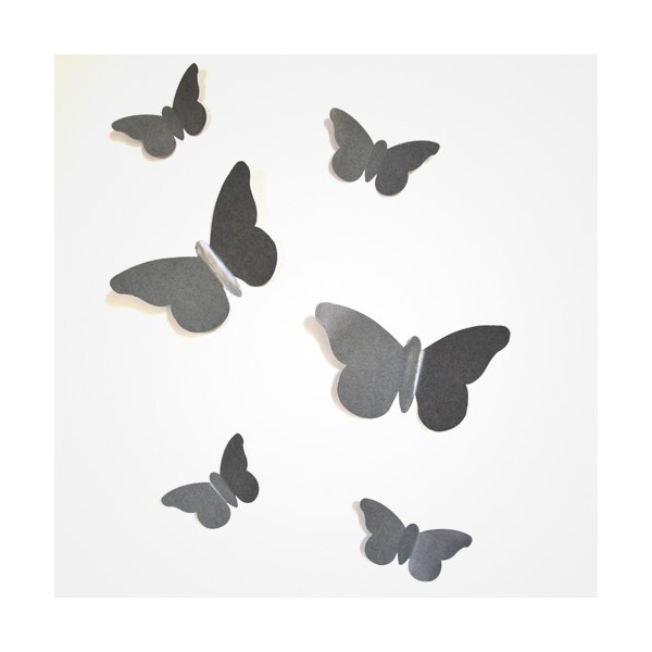 sticker papillon relief gris b ton bulles de citron design. Black Bedroom Furniture Sets. Home Design Ideas