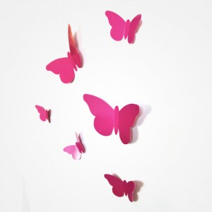 Sticker papillon relief rose fushia