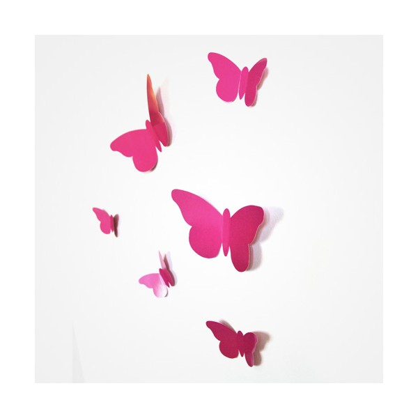 Sticker papillon relief rose fushia bulles de citron design for Objet deco rose