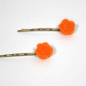 "Barrettes Roses""orange"""