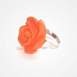 "Bague fleur ""Rose"" Orange"