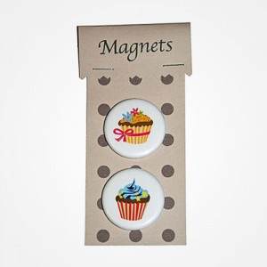 Magnets Cupcake noeud rose