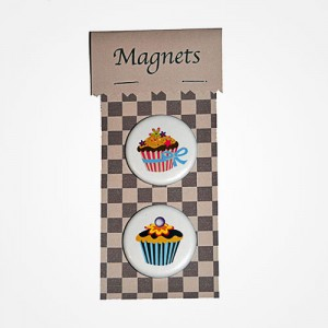 Magnets Cupcake noeud bleu