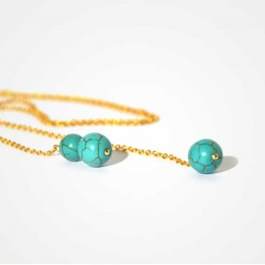 "Collier ""Or et Turquoise"""
