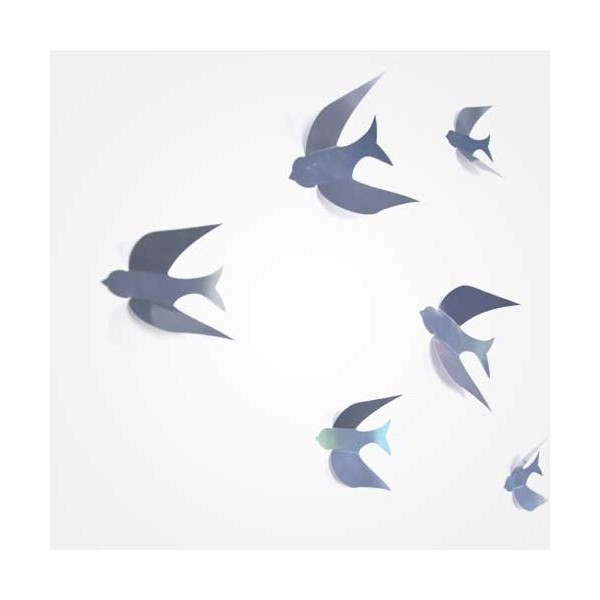 D coration murale 3d oiseaux gris bulles de citron design for Decoration murale oiseau 3d