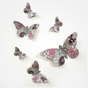 "Sticker papillon relief:""Gris"""