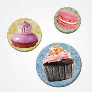 "Trio de badges ""Gourmandises"""